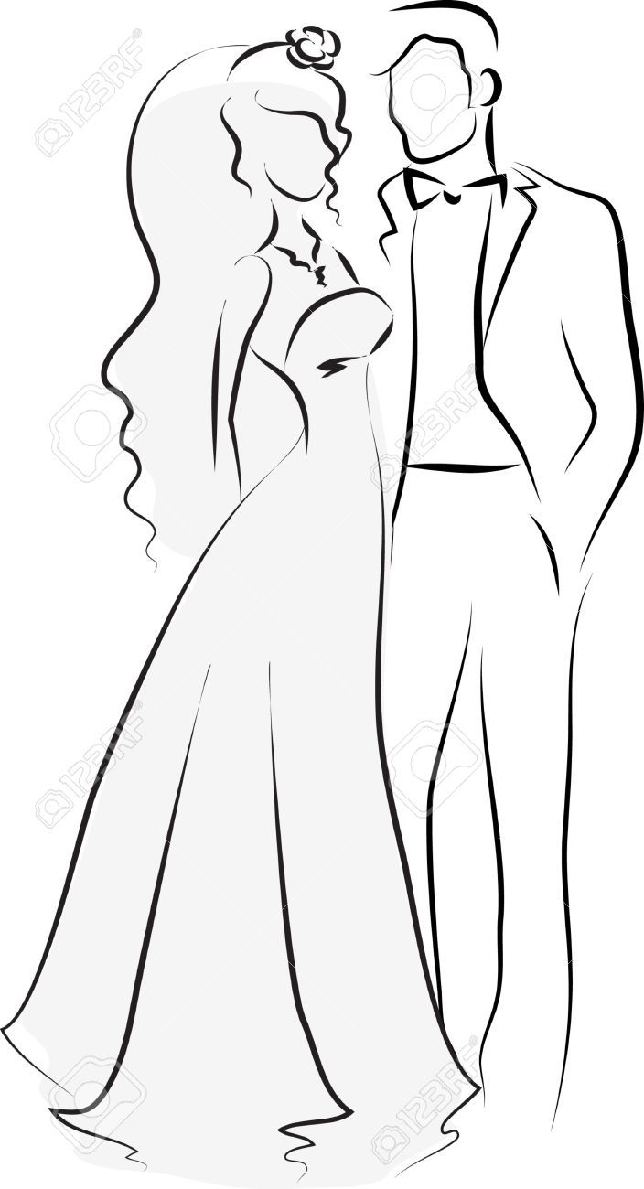 Silhouette Of Bride And Groom Background Royalty Free Cliparts