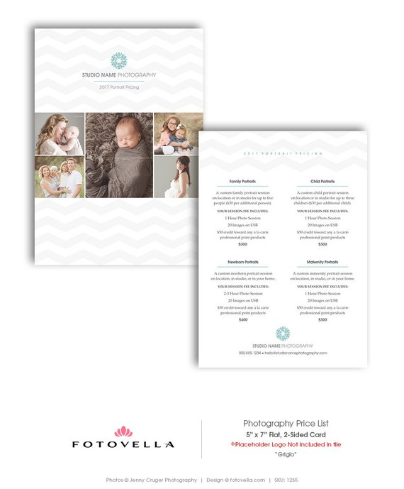 Photography Price List Template - 5x7 Flat Card Photoshop