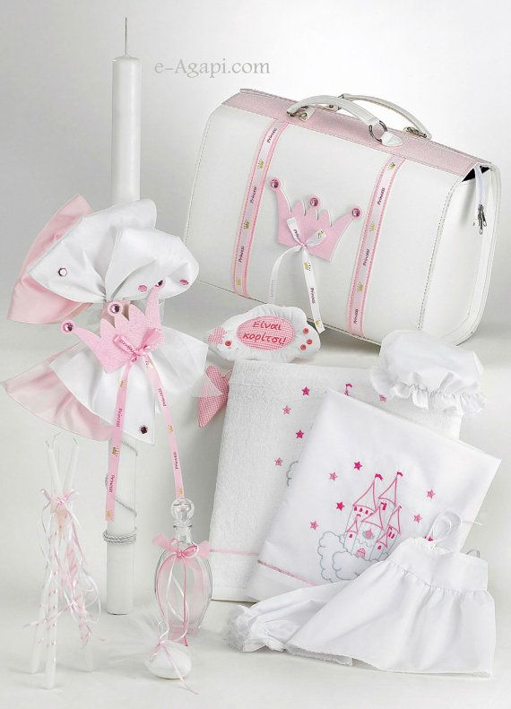 Princess crown greek baptism SET candle Baby girl christening bag ... 973177e6eff