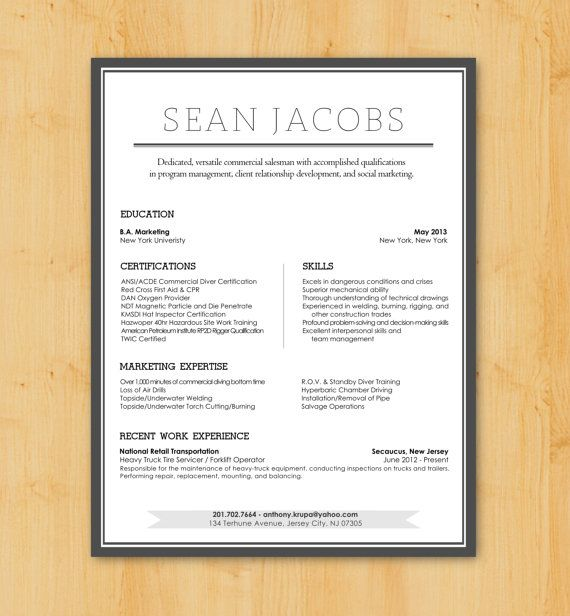 Resume Writing / Resume Design: Custom Resume Writing & Design Service -  Modern Design -