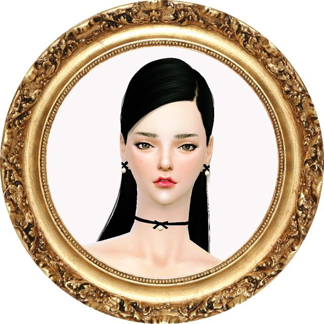 SIMS4 marigold: thin ribbon choker & earring_ thin ribbon choker and earrings _ Accessories women