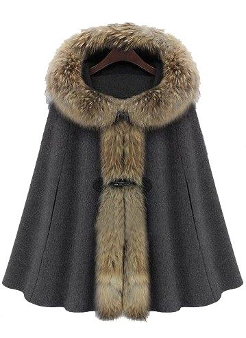 Dark Grey Fur Hooded Buckle Ruffles Cape Coat Cuellos De Piel Chaquetas Abrigos Grises