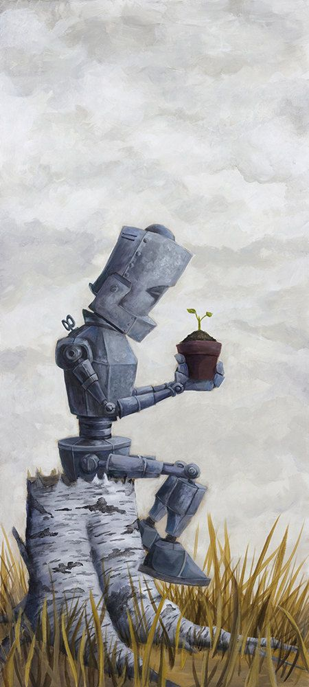 Sprout Bot Robot Painting Print Etsy Robot Painting Robot Illustration Robot Art