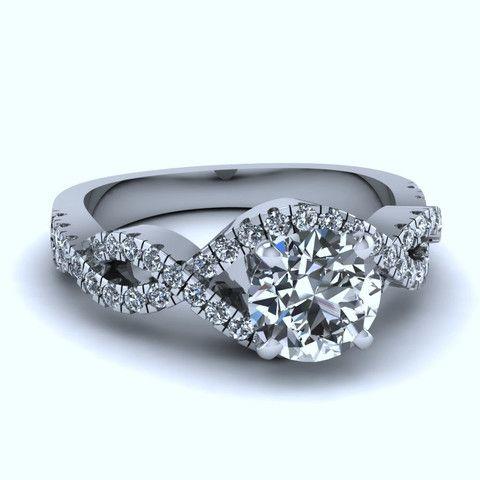 0.93ct F-SI1 18kt White Gold Halo Round Diamond Engagement Fine Jewelry Bridal Anniversary Birthday Rings