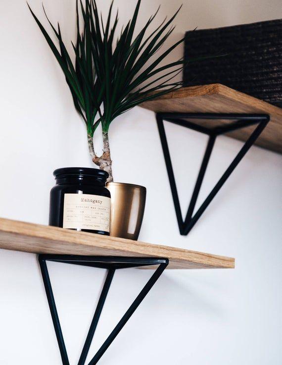 Wall Shelf, Handmade wood shelf from solid oak comes with two metal shelf brackets