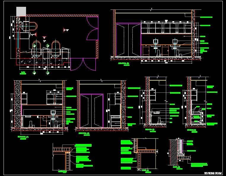 Autocad #Drawing Of Small Staff Working Room Design