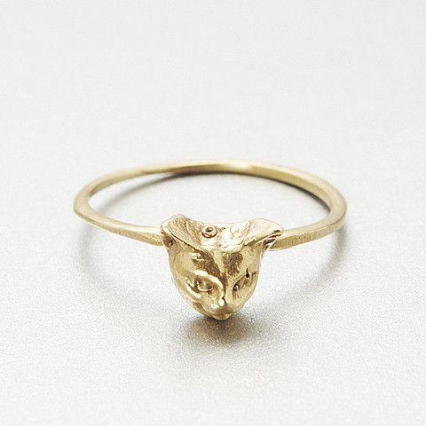 Cheshire Kitty Ring- Gold Brass