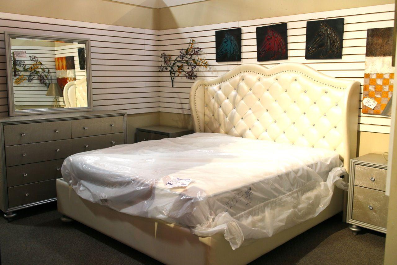 Mcferran White Rhinestone Eastern King Bedroom Set Colleen S