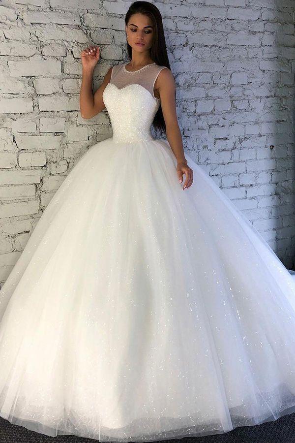 Glänzende Pailletten Tüll Juwel Ausschnitt Ballkleid Brautkleid mit