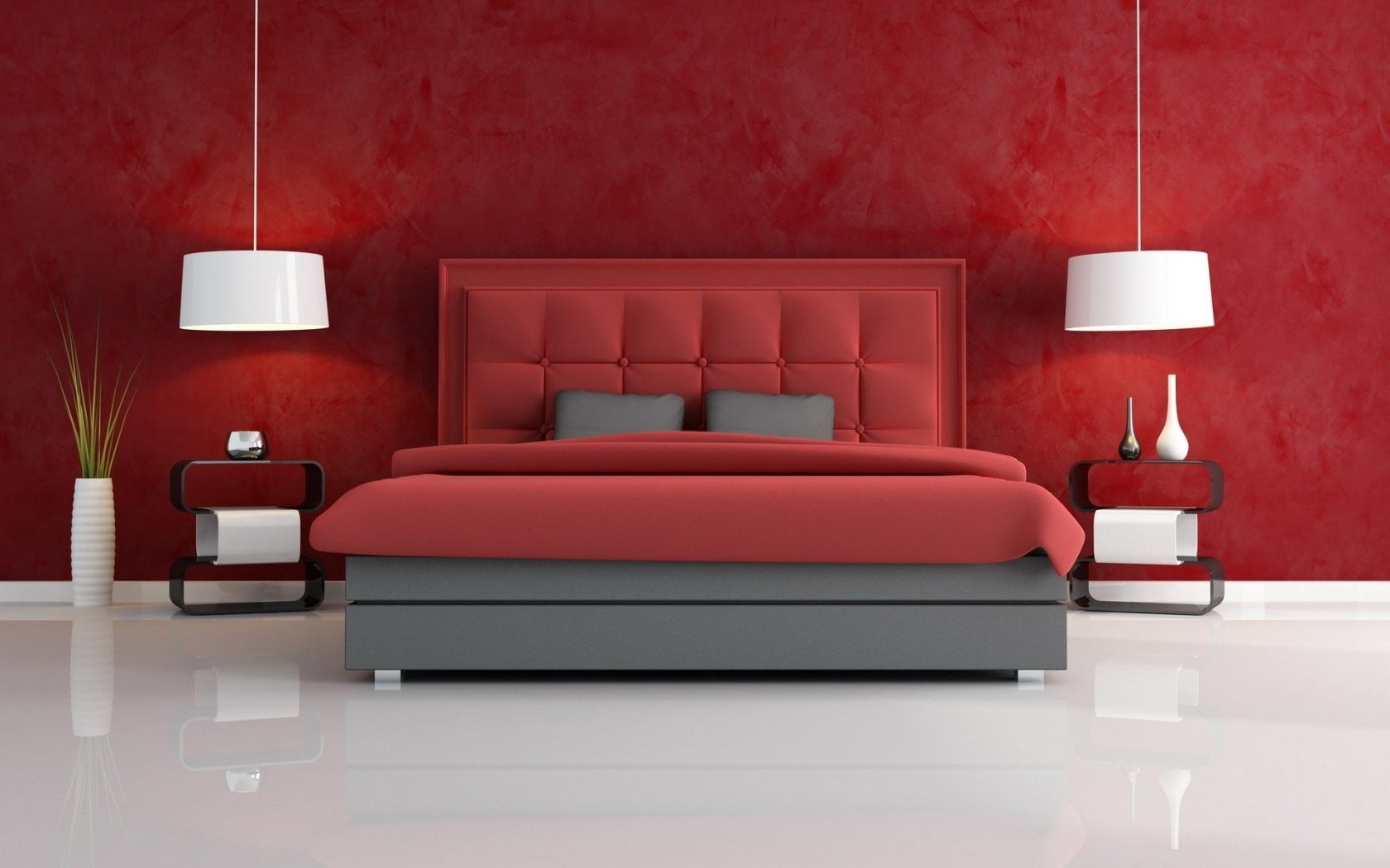 Bedroom color ideas grey and red - Charming Red Bedroom Design Idea With Red Wall Paint Color And Cool White Pendant Lamos And