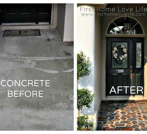 Painted Concrete Patio Cement