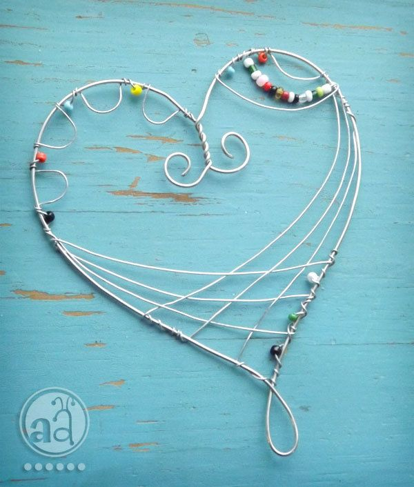 Heart - Wire Ornament with Beads - Playful and Delicate. $8.50, via ...