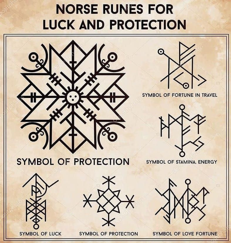 Norse Runic Symbols For Luck And Protection Norsemythology Norse Mythology Scandin Rune Tattoo Norse Runes Viking Symbols