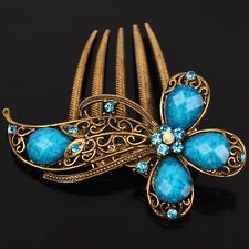 9K Yellow Gold Filled Women Blue Austrian Crystal Flower Hair Pin Comb Clip F020