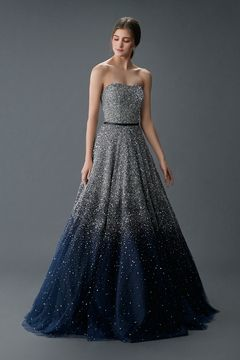 silver and midnight blue wedding gown