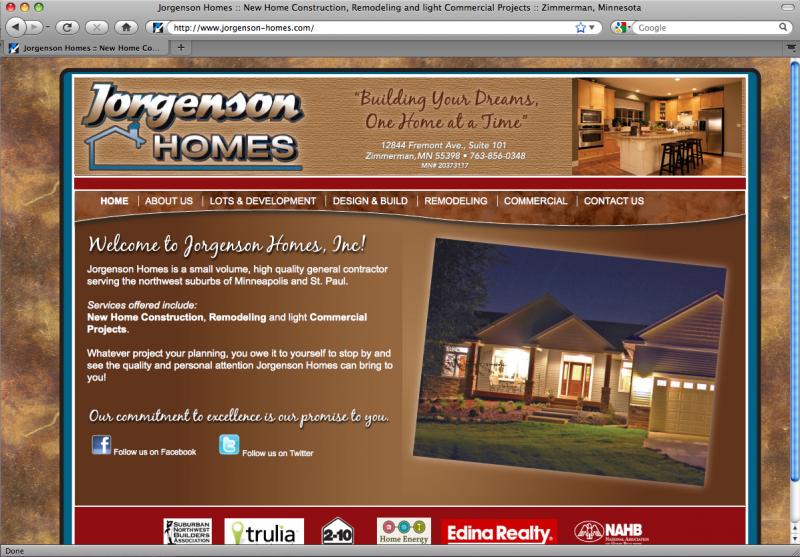 Jorgenson Home Website Design By Phoenix Web Design In Minneapolis Mn Www Pwd Mn Com Portfolio Web Design Web Design Best Web Design