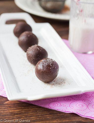 Dark Chocolate Quinoa Truffles and 25 Quinoa Dessert Recipes - MyNaturalFamily.com #quinoa #recipe #glutenfree