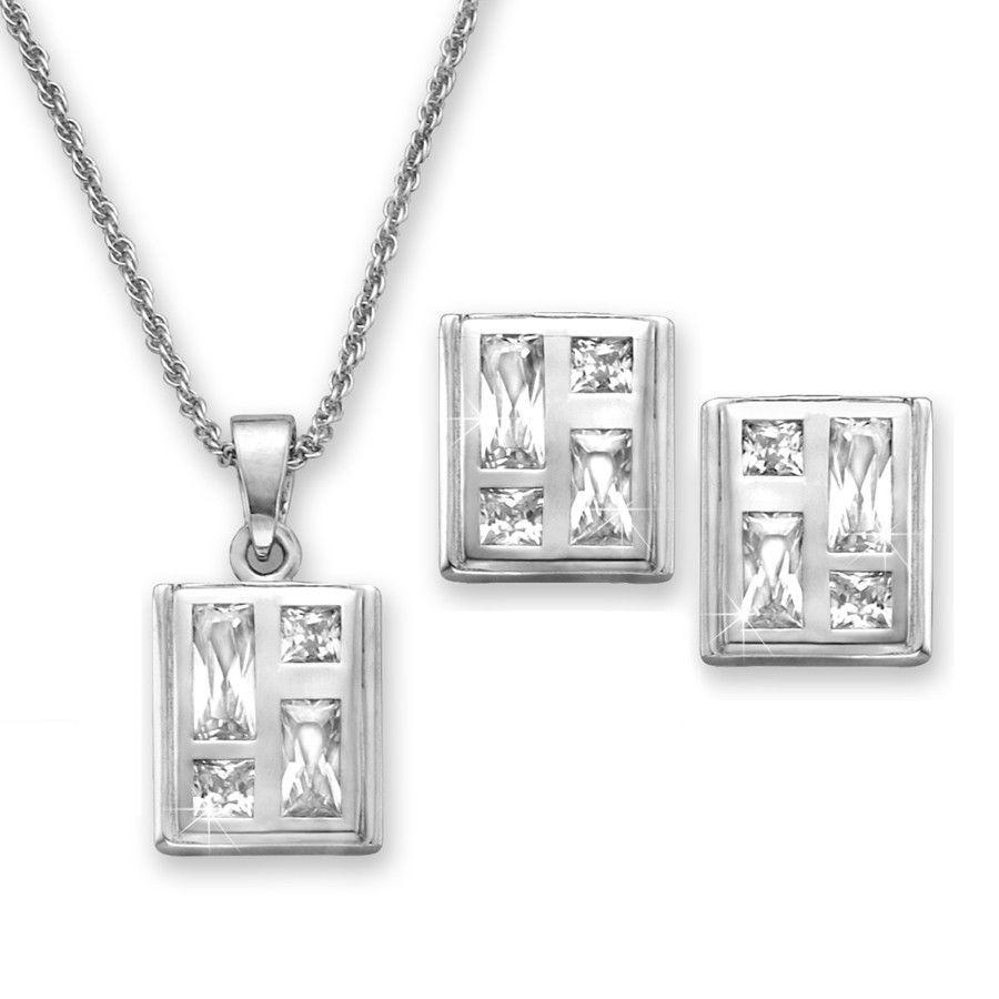 Cubic zirconia bezel set mosaic pendant and earrings pc set