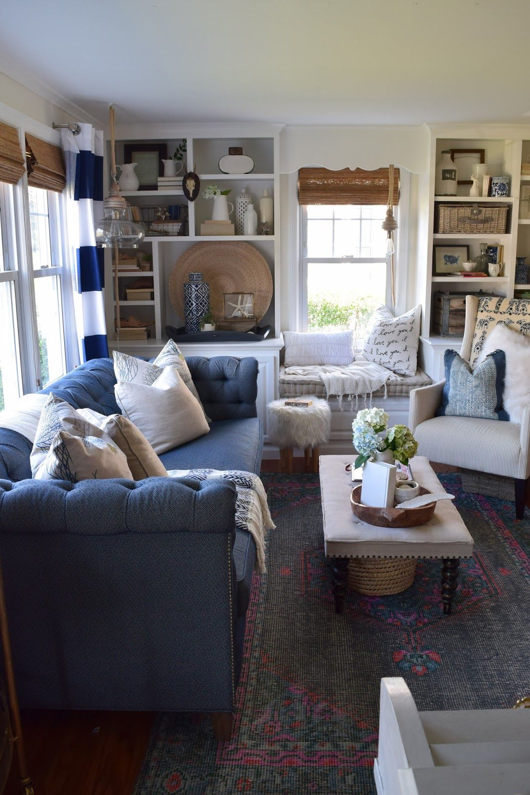 Pin By Michelle Hawkins On Color Inspiration Blue Couch Living Farm House Living Room Blue Living Room