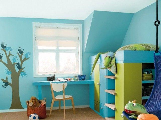 Chambre d 39 enfants bleue vert couleurs pinterest bleu vert vert et chambres for Chambre garcon jaune et grise