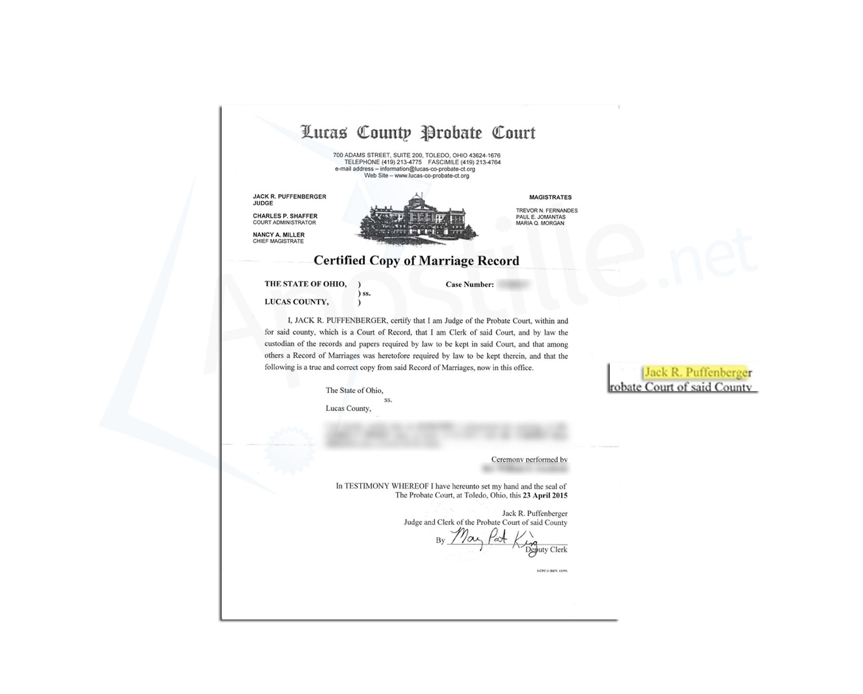 State Of Ohio Death Certificate Issued By Judith B Nagy  State Of