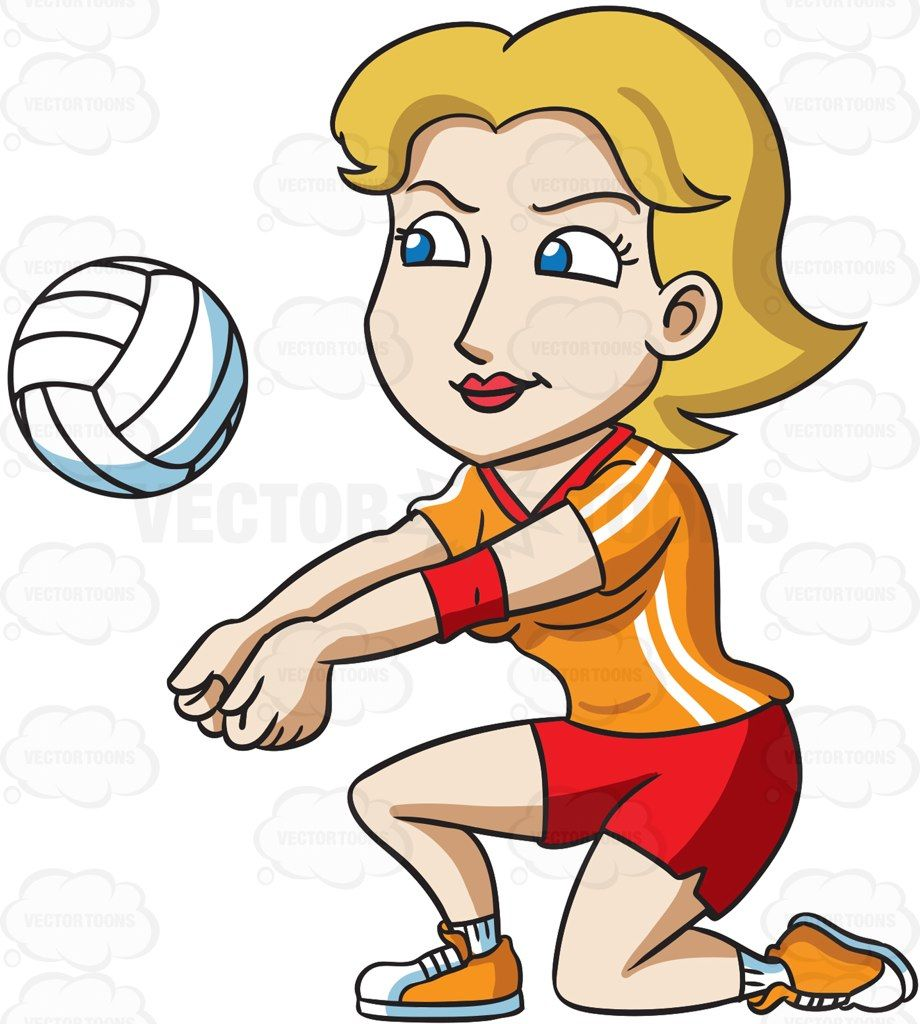 A Female Volleyball Player Kneeling To Hit A Ball Vector Graphics Vectortoons Com Cartoon Volleyball Female Volleyball Players Volleyball
