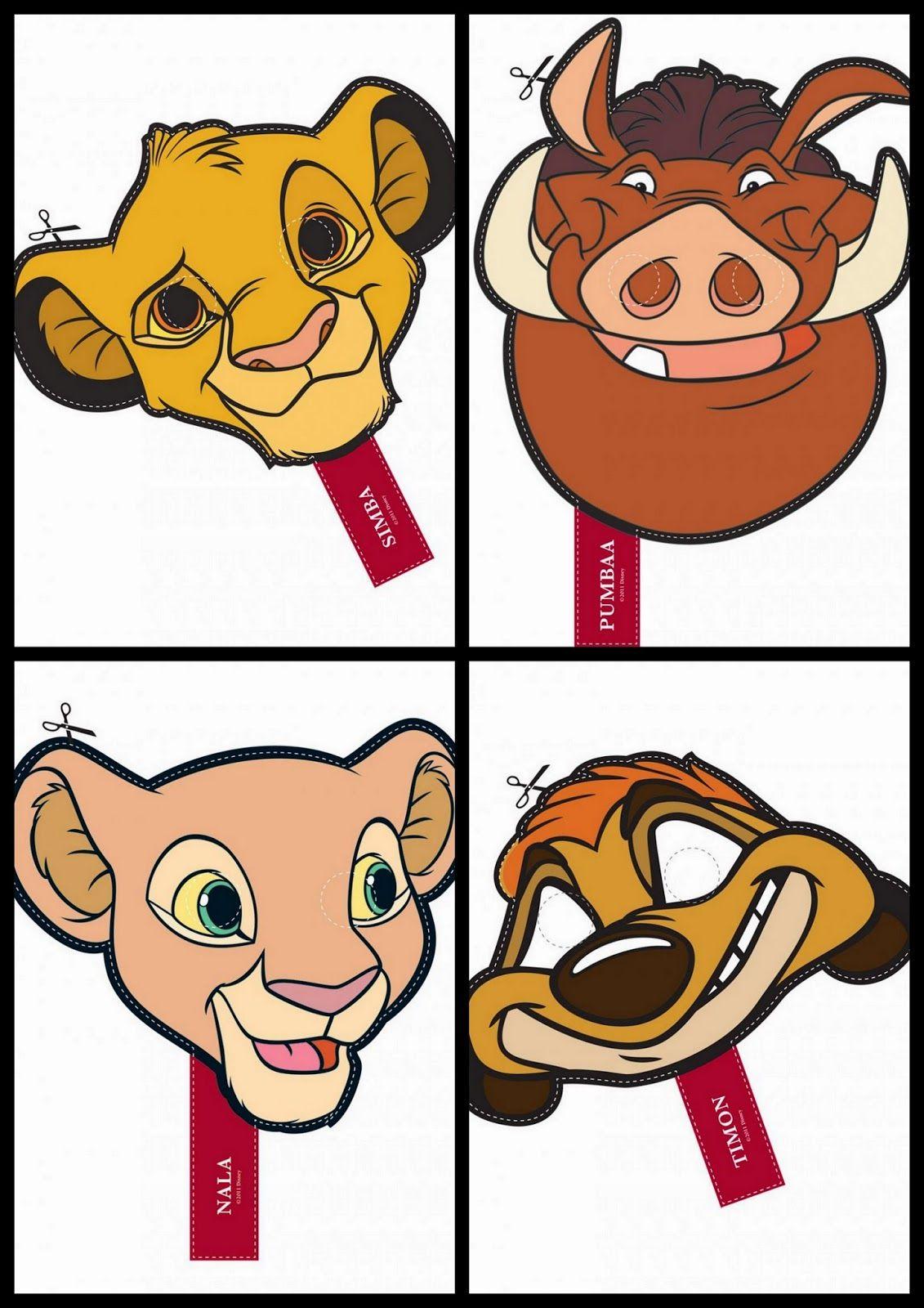 Divertidas Máscaras del Rey León para Imprimir Gratis. | Rey león ...