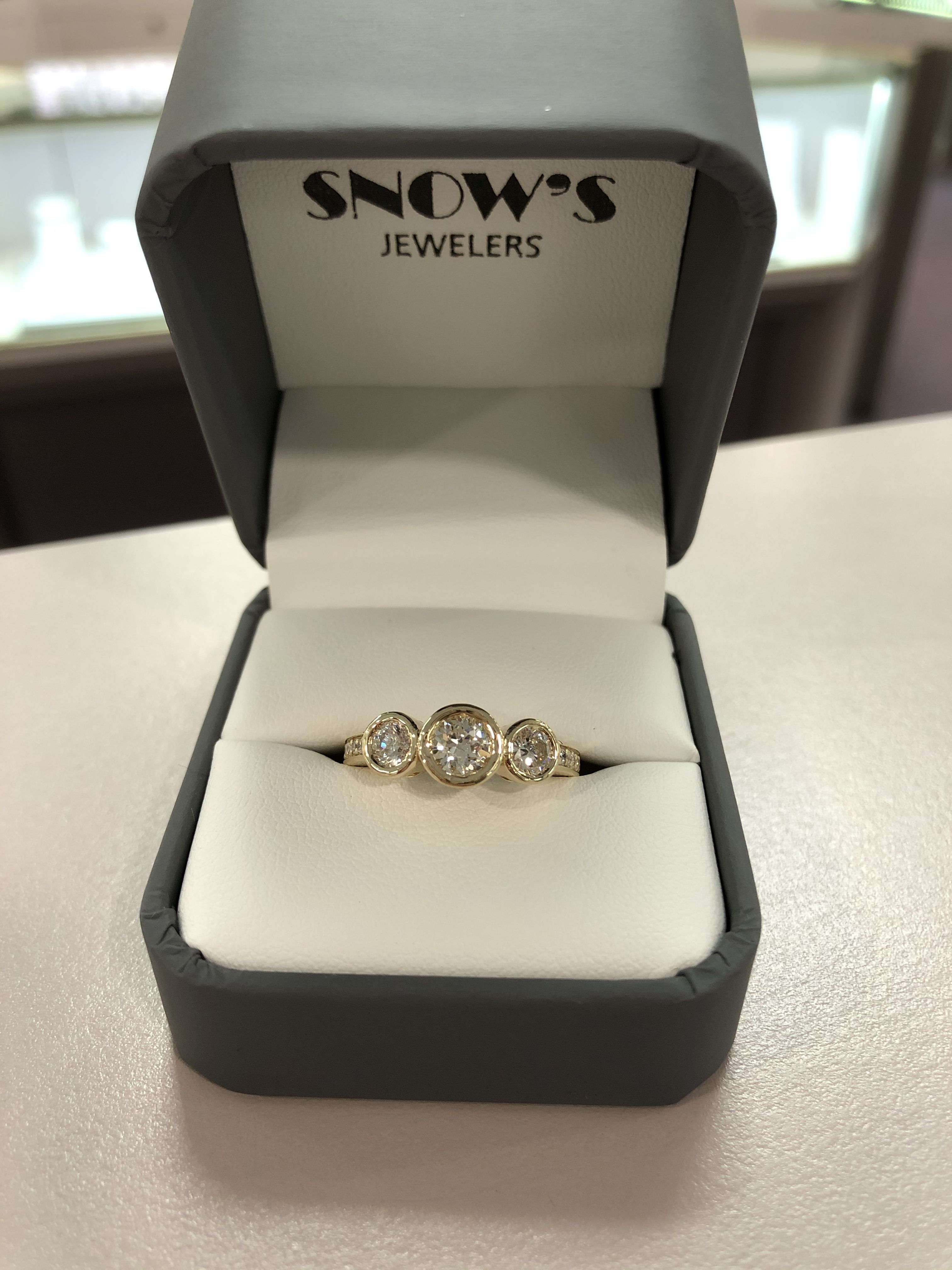 Bezel set in 2020 Jewelry stores, 3 stone engagement