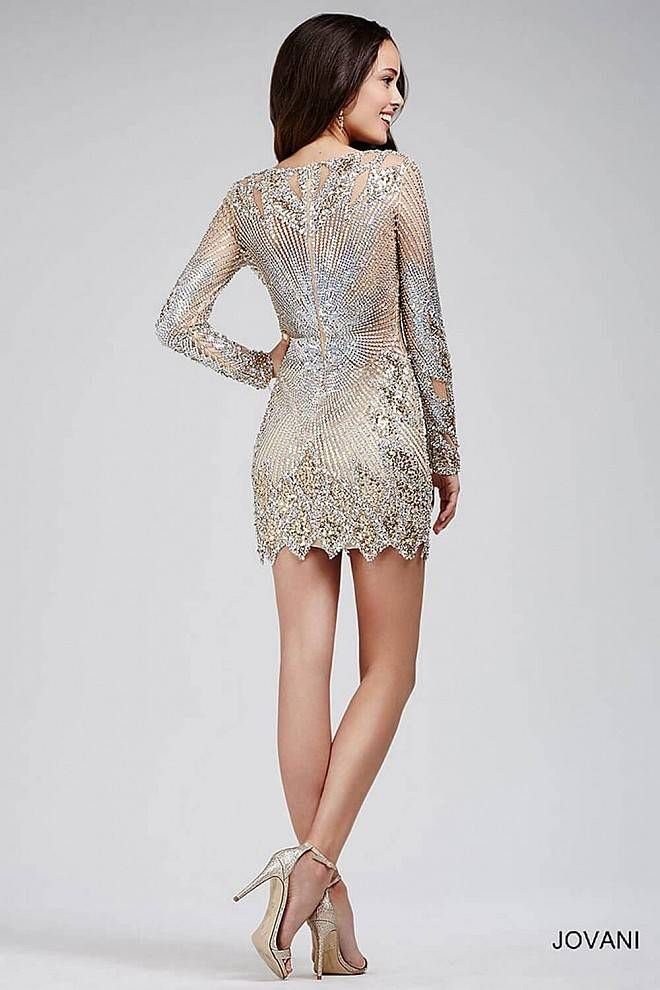 Navy and Taupe Short Sequin-Lace Shift Party Dress