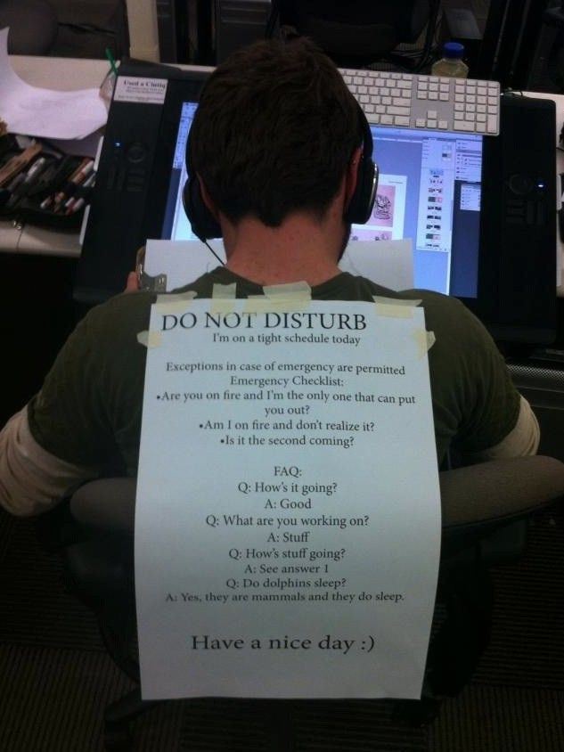 Thorough Wearable Do Not Disturb Sign For Our New Cubicle Lifestyle Joke