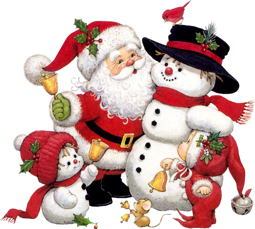 Cute Snowman Santa and Kid Clipart Vintage christmas