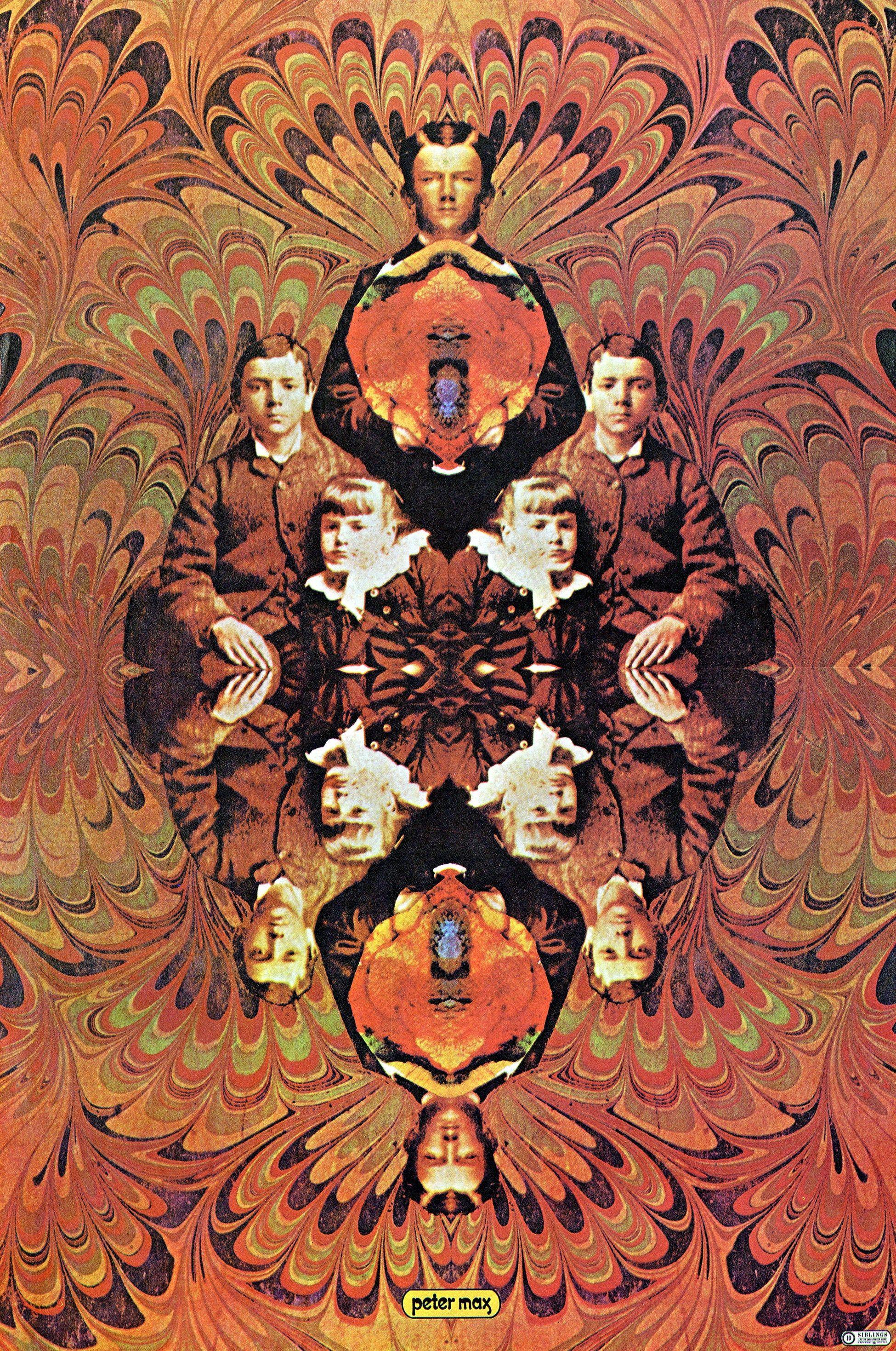 Peter max siblings poster vintage 1970 pop art print