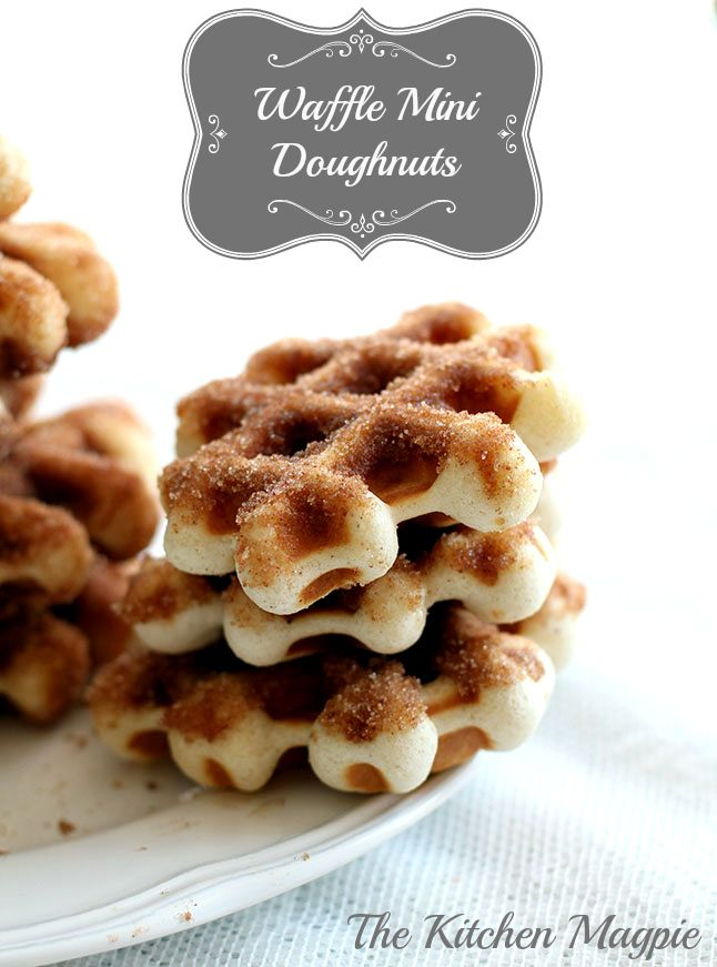 Mini Doughnuts made in your waffle iron, then dipped in cinnamon sugar. Perfect for the holidays!   The Kitchen Magpie #Christmas #recipes #Doughnuts