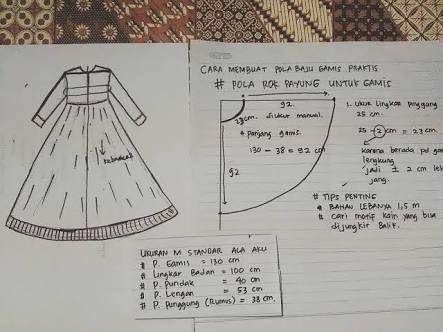 Hasil Gambar Untuk Pola Gamis Payung Gamis Dewasa Pinterest