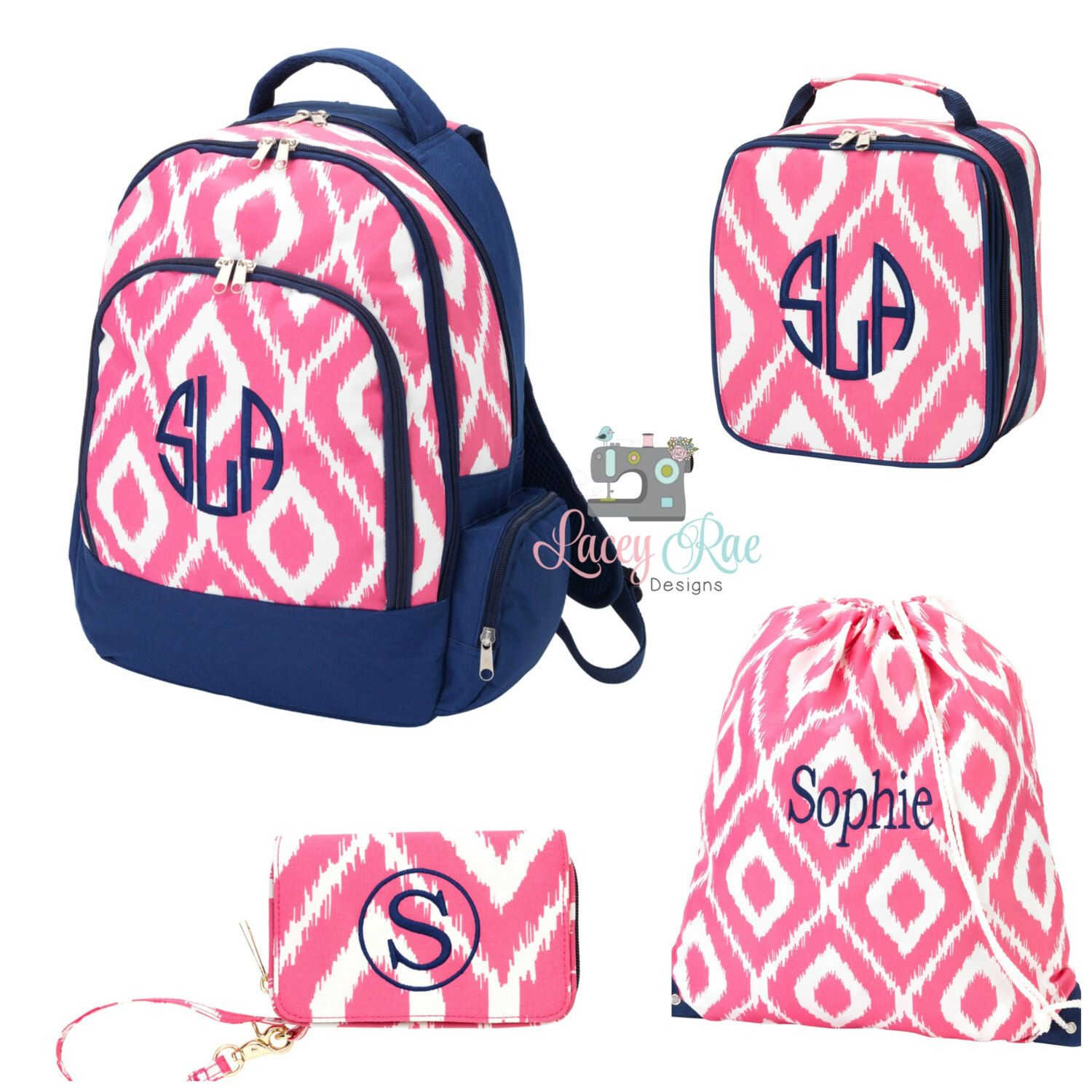pink ikat personalized backpack  lunchbox and wristlet  toddler backpack  monogrammed backpack