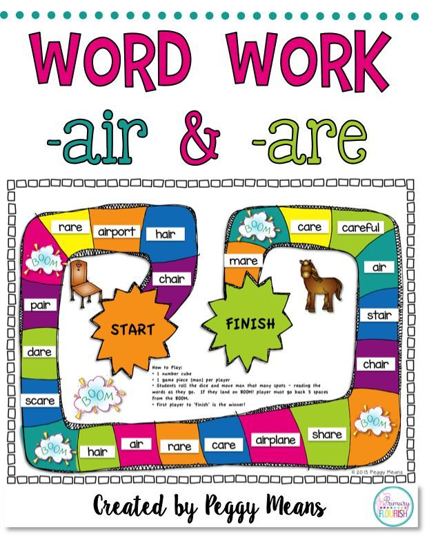 Phonics Literacy Center Flip Books Word Families Are And Air