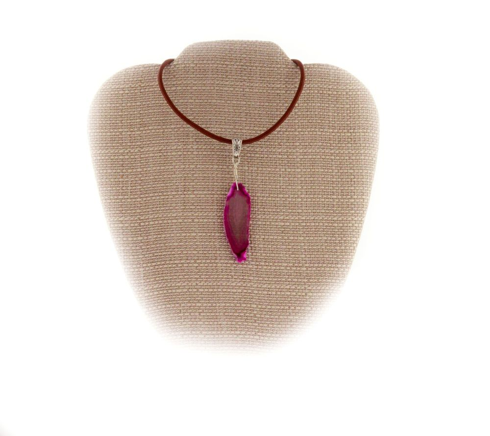 Details About Cowgirl Pink Agate Ss Wire Wrap Pendant Necklace A067