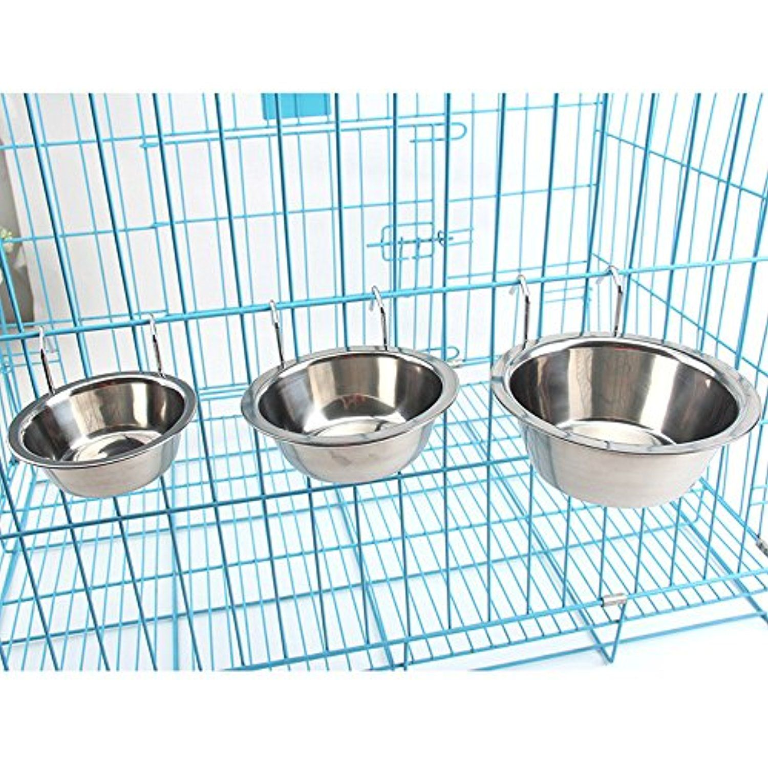 Mlcini Stainless Steel Hanging Pet Bowl Removable Dish Feeder For
