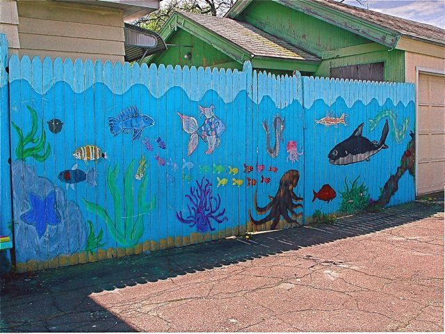 Fish mural would love this for my wall in the backyard for Beach mural painting