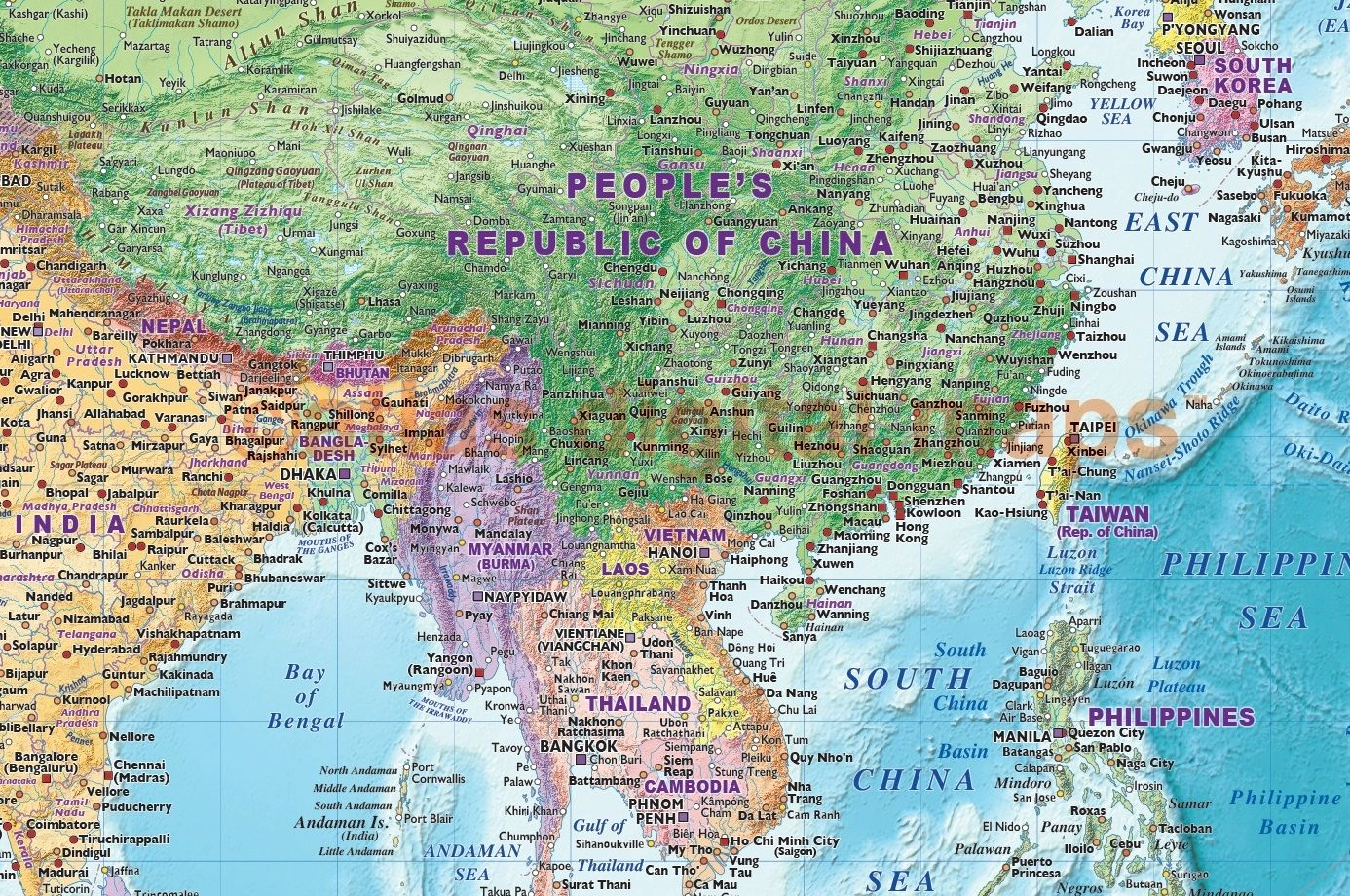 Political map of Southeast Asia including Thailand China and