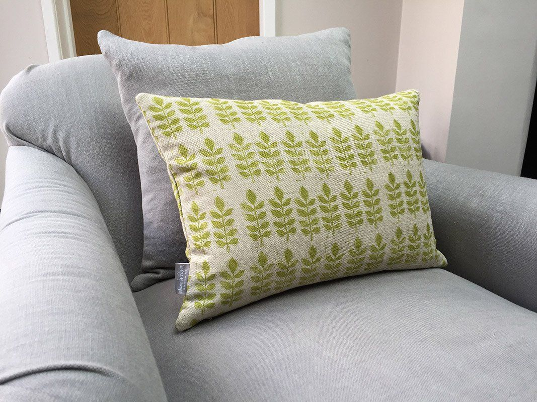 Leaf print linen cushion this luxurious featherfilled