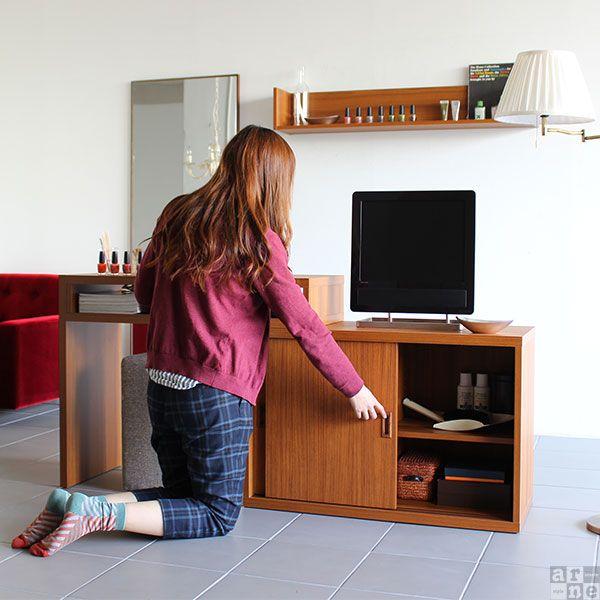 テレビ台 伸縮してすき間にハマる 今までにないパソコンデスク インテリアショップ Arne アーネ パソコンデスク テレビ台 ハイタイプ テレビ台
