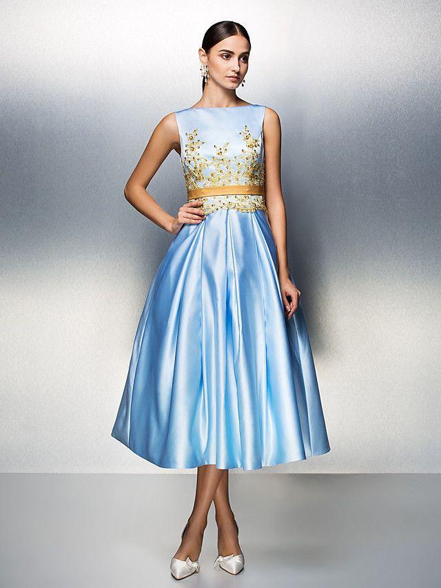 938de3a673 Company Party   Family Gathering Dress - Sky Blue Plus Sizes   Petite Ball  Gown Bateau Tea-length Satin - USD  99.99