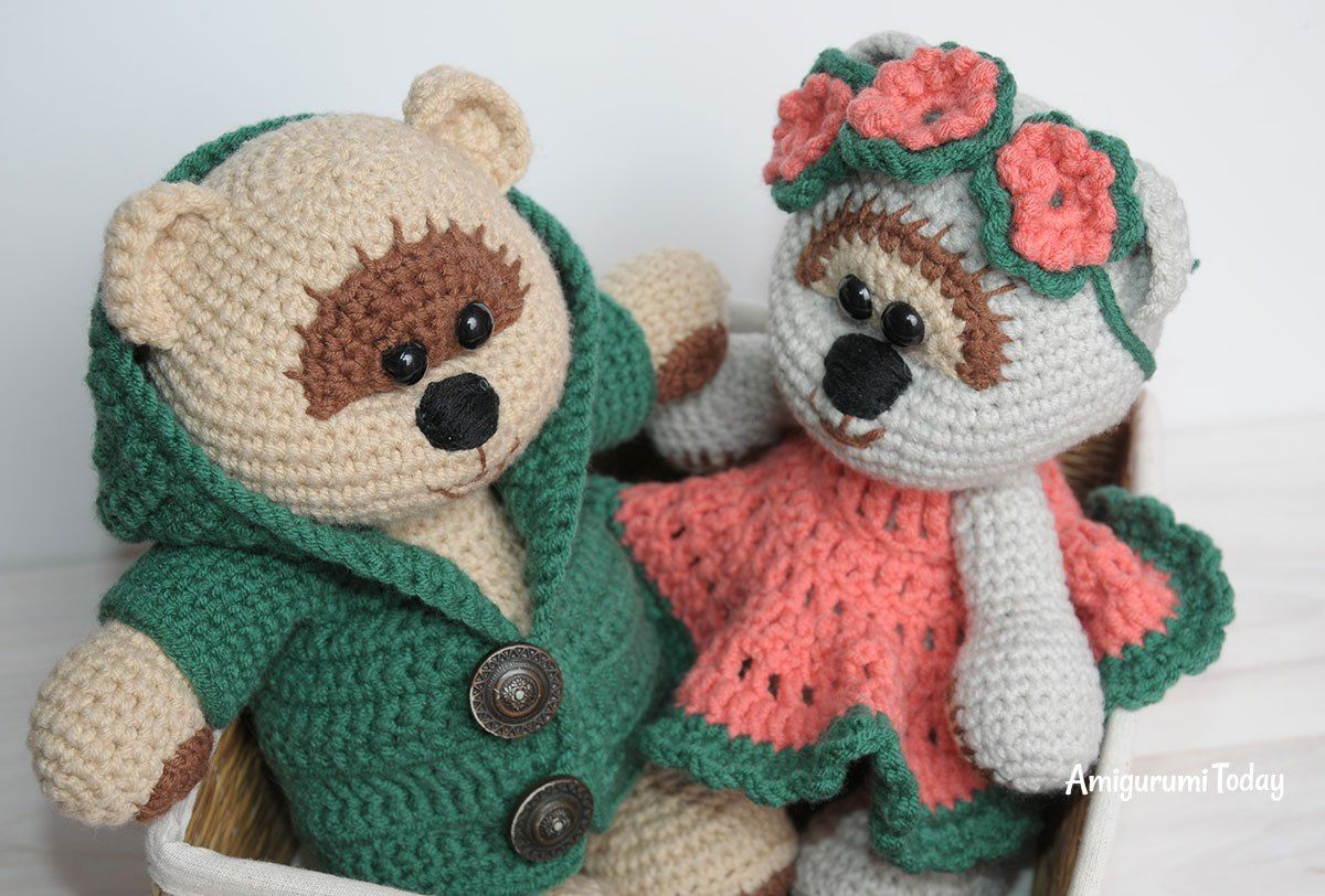 Honey teddy bears in love: crochet pattern | Free crochet, Teddy ...
