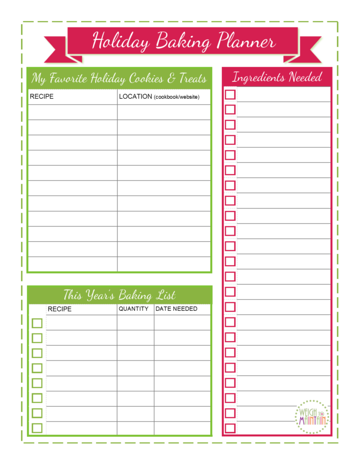 Free Printable Christmas Baking Planner By Weightomaintain