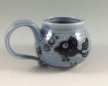 Handmade Blue Coffee Mug, tea cup with Sgraffito Fish Design - Fish bowl pottery Coffee Mug