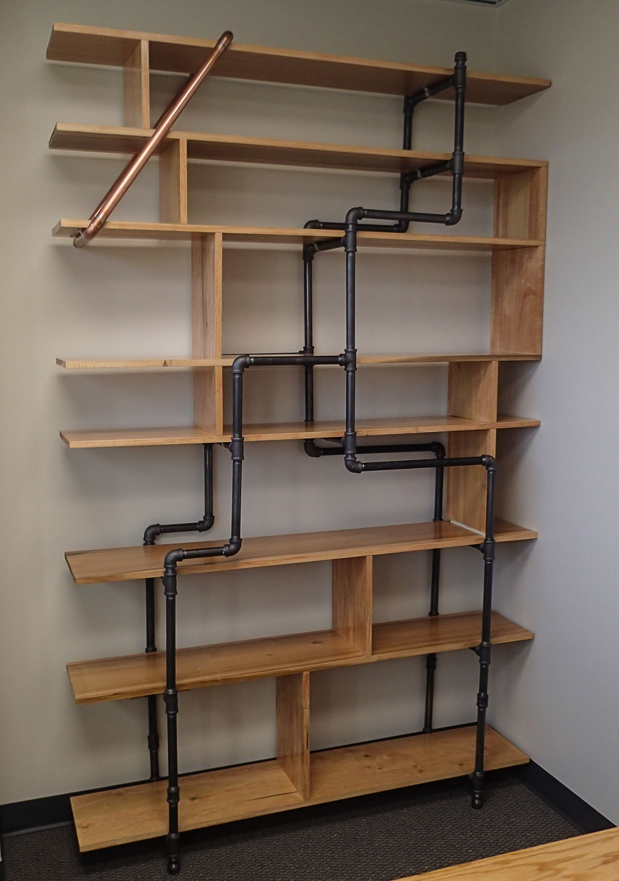 office bookshelf made of 12 poplar boards and 3 4 black pipe 5