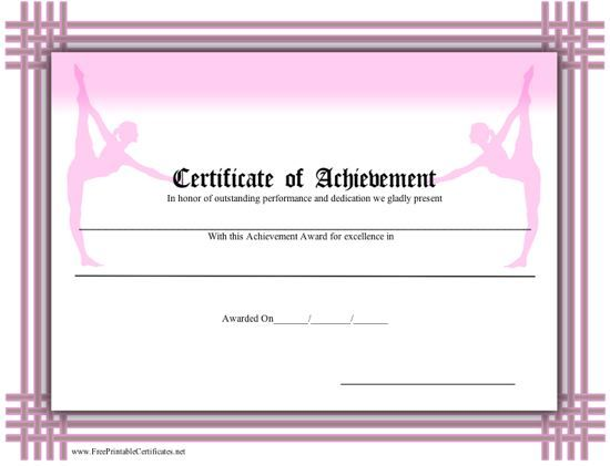 A printable certificate of achievement for ballet, bordered in pink - certificate