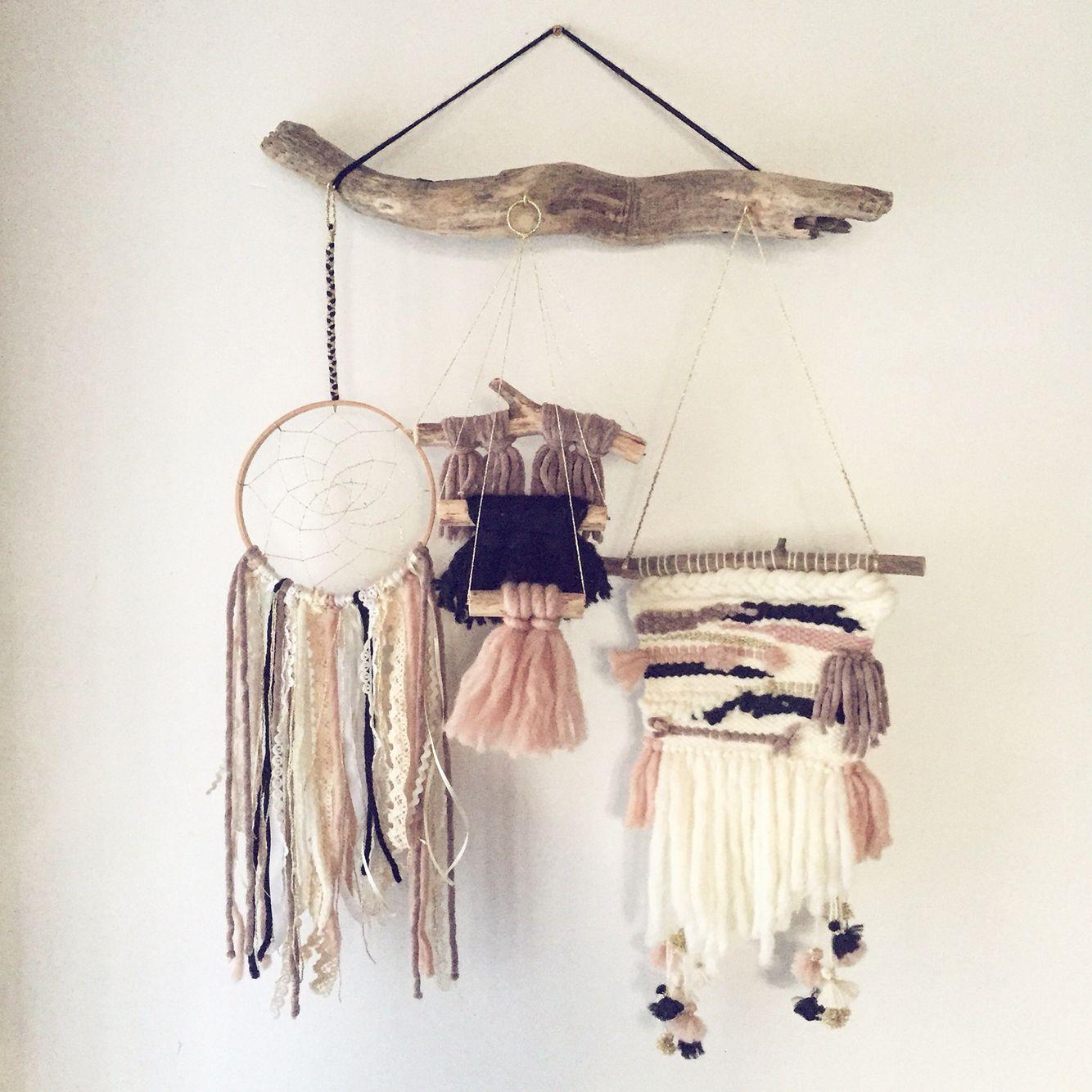 tissage laine attrape r ves et bois flott ma cr a wall hanging weaving macrame loom. Black Bedroom Furniture Sets. Home Design Ideas