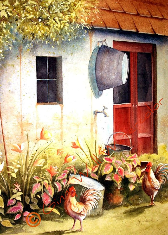 """French Country Courtyard""...This watercolor Ginny painted reminds me of my home on the farm♥"